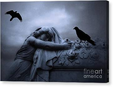 Surreal Gothic Cemetery Female Mourner Draped Over Coffin With Ravens - Surreal Blue Cemetery Art Canvas Print by Kathy Fornal