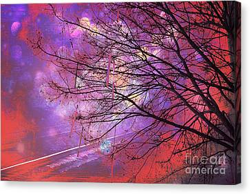Surreal Gothic Fantasy Abstract Bokeh Tree Nature - Abstract Black Purple Orange Trees Canvas Print by Kathy Fornal