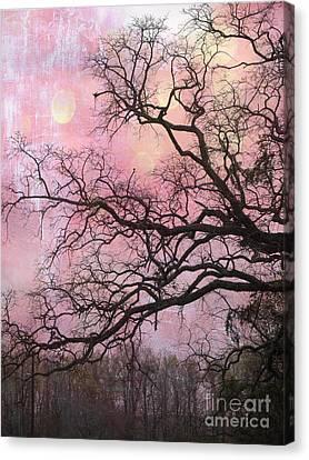 Surreal Gothic Fantasy Abstract Pink Nature - Fantasy Surreal Trees Nature Photograph Canvas Print by Kathy Fornal