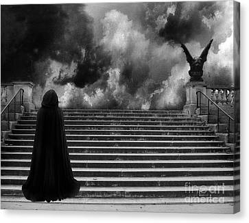 Surreal Gothic Infrared Black Caped Figure With Gargoyle On Paris Steps Canvas Print by Kathy Fornal