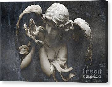 Ethereal Guardian Angel With Dove Of Peace Canvas Print by Kathy Fornal