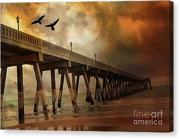 Surreal Haunting Fishing Pier Ocean Coastal - North Carolina Coast Pier  Canvas Print by Kathy Fornal