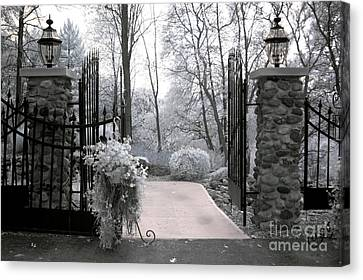 Surreal Haunting Infrared Nature Gate Scene Canvas Print by Kathy Fornal