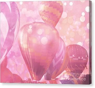 Surreal Hot Air Balloons Fantasy Fairytale Print - Hot Pink Hot Air Balloons Festival Art  Canvas Print by Kathy Fornal