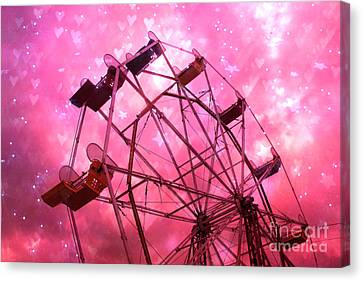 Surreal Hot Pink Ferris Wheel Stars And Hearts Canvas Print by Kathy Fornal