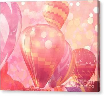 Surreal Hot Pink Orange And Yellow Hot Air Balloons - Hot Air Balloons Festival Fantasy Art Prints Canvas Print by Kathy Fornal