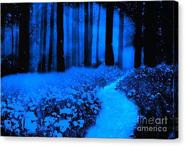 Surreal Moonlight Blue Haunting Dark Fantasy Nature Path Woodlands Canvas Print by Kathy Fornal