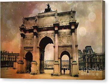 Surreal Paris Arc De Triomphe Louvre Arch Courtyard Sepia Soft Bokeh Canvas Print by Kathy Fornal