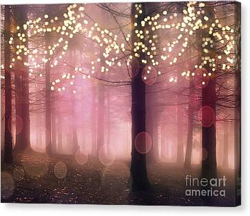 Surreal Pink Fantasy Fairy Lights Sparkling Nature Trees Woodlands - Pink Nature Sparkling Lights Canvas Print by Kathy Fornal