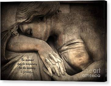 Surreal Sad Angel Cemetery Mourners At Grave With Inspirational Message Of Memories Canvas Print by Kathy Fornal