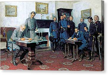 Surrender At Appomattox Canvas Print by Tom Lovell