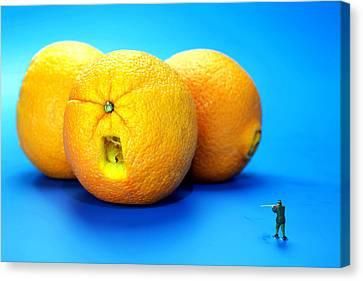 Surrender Mr. Oranges Little People On Food Canvas Print by Paul Ge