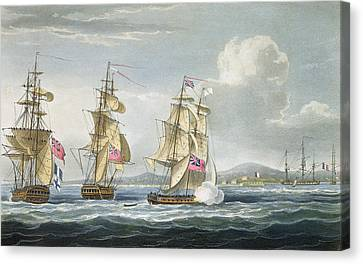 Surrender Of The Fort Of Tamatave Canvas Print by Thomas Whitcombe