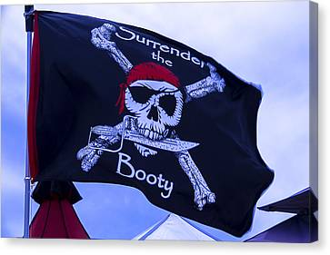 Surrender The Booty Pirate Flag Canvas Print by Garry Gay