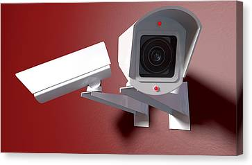 Surveillance Cameras On Red Canvas Print by Allan Swart
