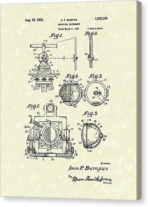 Surveying Instrument 1933 Patent Art Canvas Print by Prior Art Design
