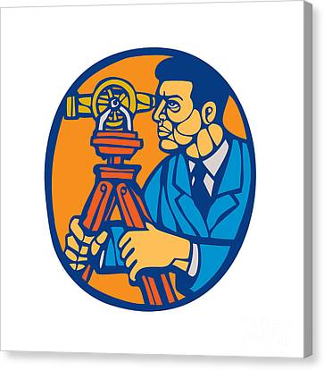 Surveyor Geodetic Theodolite Woodcut Linocut Canvas Print by Aloysius Patrimonio