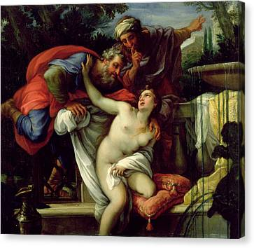 Susanna And The Elders Canvas Print by Giuseppe Bartolomeo Chiari