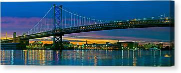 Suspension Bridge Across A River, Ben Canvas Print by Panoramic Images
