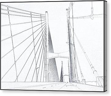 Suspension Bridge Sketch Canvas Print by Dan Sproul