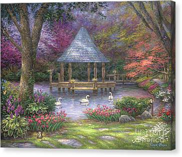 Swan Pond Canvas Print by Chuck Pinson