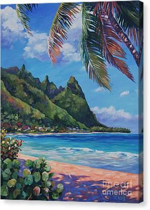 Swaying Palm On Makua Beach Canvas Print by John Clark