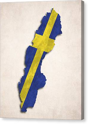 Sweden Map Art With Flag Design Canvas Print by World Art Prints And Designs