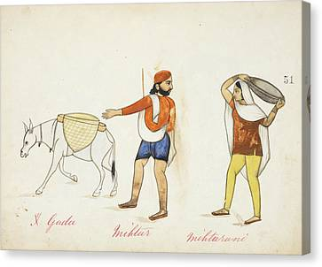 Sweeper And His Wife With Their Donkey Canvas Print by British Library