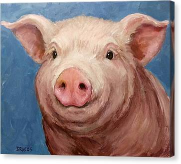 Sweet Baby Pig Portrait Canvas Print by Dottie Dracos