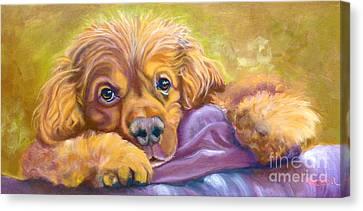 Sweet Boy Rescued Canvas Print by Susan A Becker