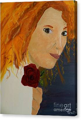 Sweet Lady Holding A Rose Canvas Print by Pamela  Meredith