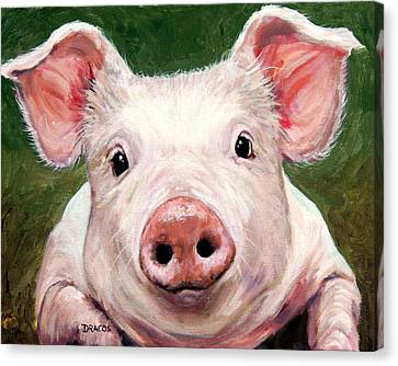 Sweet Little Piglet On Green Canvas Print by Dottie Dracos