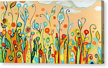 Sweet Peas And Poppies Canvas Print by Jennifer Lommers