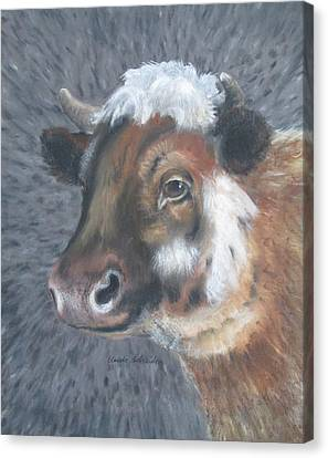 Sweet Shirley The Cow Canvas Print by Claude Schneider