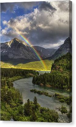 Swiftcurrent River Rainbow Canvas Print by Mark Kiver