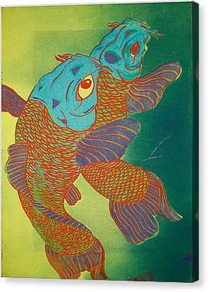 Swimming In A Green Sea Canvas Print by Trance Briguglio