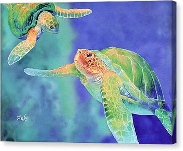 Swimming Seaturtles Canvas Print by Anke Wheeler