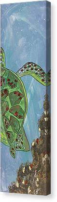 Swimming With The Turtles Canvas Print by Marcia Weller-Wenbert