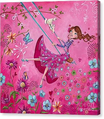 Swing Girl Canvas Print by Caroline Bonne-Muller