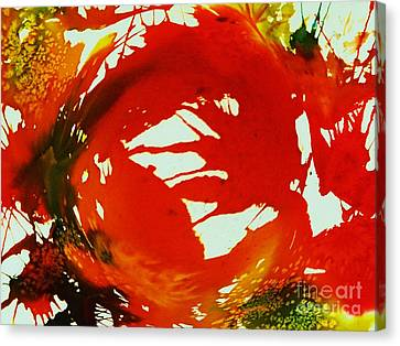 Swirling Crimson Abstract Canvas Print by Ellen Levinson