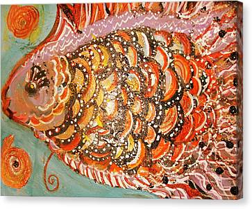 Swishy Fancy Fishy Canvas Print by Anne-Elizabeth Whiteway