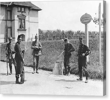 Swiss And German Border Guards Canvas Print by Underwood Archives