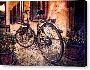 Swiss Bicycle Canvas Print by Debra and Dave Vanderlaan