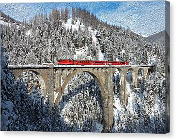 Swiss Bridge - Snow Painting Canvas Print by Mike Rampino