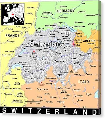 Switzerland Exotic Map Canvas Print by Florene Welebny