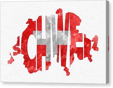 Switzerland Typographic Map Flag Canvas Print by Ayse Deniz