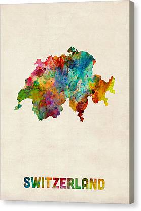 Switzerland Watercolor Map Canvas Print by Michael Tompsett