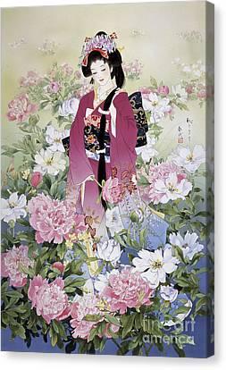 Syakuyaku Canvas Print by Haruyo Morita