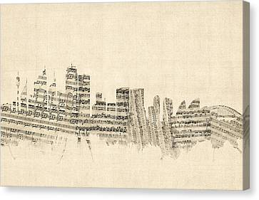 Sydney Australia Skyline Sheet Music Cityscape Canvas Print by Michael Tompsett