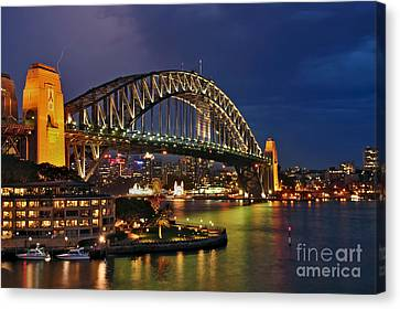 Sydney Harbour Bridge By Night Canvas Print by Kaye Menner